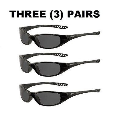 (3)  V40 Hellraiser Safety Glasses, Smoke Lenses w/ Black Frame