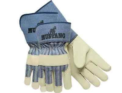 One Pair of Memphis Mustang Leather Palm Gloves Cinch Wrist Size Large