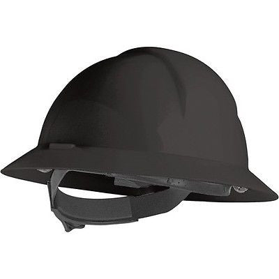 North Safety 068-A49R110000 A-Safety Black Full Brim Safety Hard Hat Slotted NEW