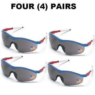 4 PAIRS Crews USA Storm® Safety Glasses Red/White/Blue Frame GREY LENS ST142C