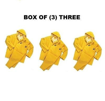 BOX OF (3) 3-PIECE HEAVY DUTY YELLOW RAINSUITS 35MM SIZE L LARGE RAIN SUITS NEW
