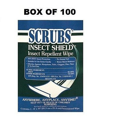 Dymon 253-91401 Insect Sheild Insect Repellant Towels BOX OF 100 NEW!