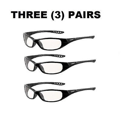 (3)  V40 Hellraiser Safety Glasses, Indoor/Outdoor Lenses w/ Black Frame