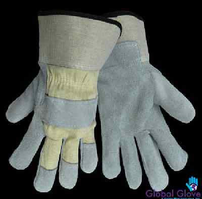Good grade gunn cut split leather palm. Washable PE cuff, 8 oz canvas back 2250