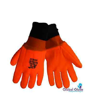 12 PAIRS (1 DOZEN) Double-dipped Safety Orange High Viz PVC Glove Foam Lined LGE