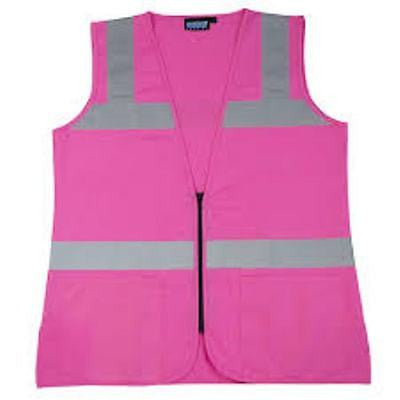 ERB S721 Pink Safety Vest Ladies Contour Fitted Hi-Visibility 61910 Size M