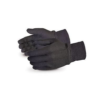 Pair Black Jersey Knit-Wrist Safety Gloves Unisex Gardening Size Large Superior