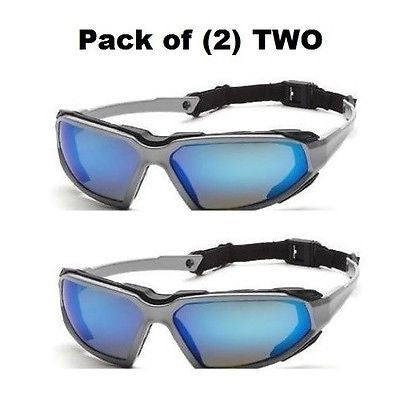 Pack of (2) PYRAMEX HIGHLANDER BLUE MIRROR ANTI FOG SAFETY GLASSES SSB5065DT NEW