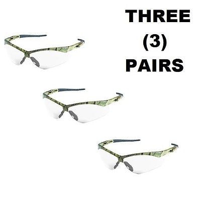 (3) V30 Nemesis Safety Glasses, Clear Anti-Fog Lenses w/ Camo Frame