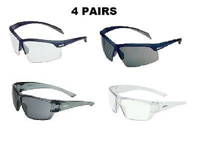HONEYWELL CASE OF 4 Safety Glasses with CASE.NEW!! Conspire Relentless Styles