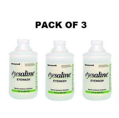 Honeywell Eyesaline Replacement Eyewash Refill Bottle, 3 Pack, 8 oz. each NEW!