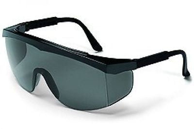 (Pair) Stratos Safety Glasses, Grey Lens Black Frame