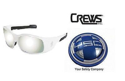 1 Pair Crews SR127 MCR Swagger Safety Glasses WHITE FRAME Silver Mirror Lens NEW