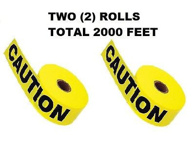 "TWO (2) ROLLS OF Yellow Caution Tape 3"" X 1000' - TOTAL 2000 FEET NEW!"