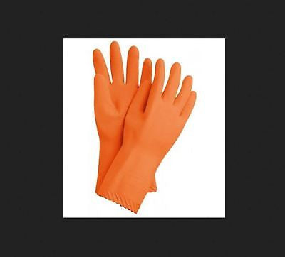 "Natrasol Lakeland Natural Orange Rubber Industrial 18"" Flocklined Gloves 6218F"