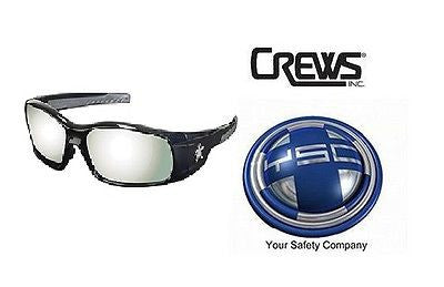 1 Pair Crews SR117 MCR Swagger Safety Glasses BLACK FRAME Silver Mirror Lens NEW