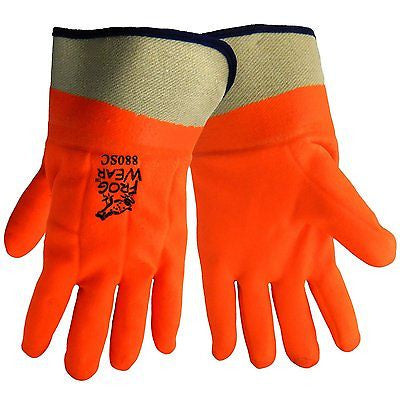(1 Dozen Pairs) Foam-Lined Orange Dipped PVC Gloves 880SC
