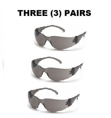 THREE (3) PAIRS PYRAMEX Series 4100 GREY WRAPAROUND SAFETY GLASSES NEW IN BAG!