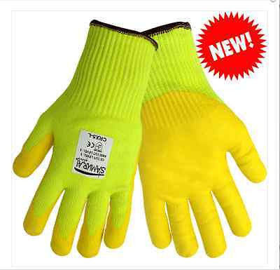 1 Pair Yellow SAMURAI Cut Resistant Work Gloves CRX5 Size XL