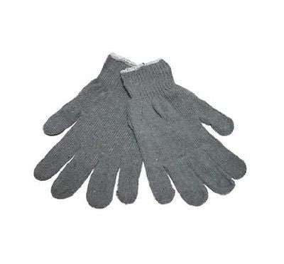 1 Pair Woman's Grey Cotton String Knit Winter Gloves - Size Large Christmas Gift
