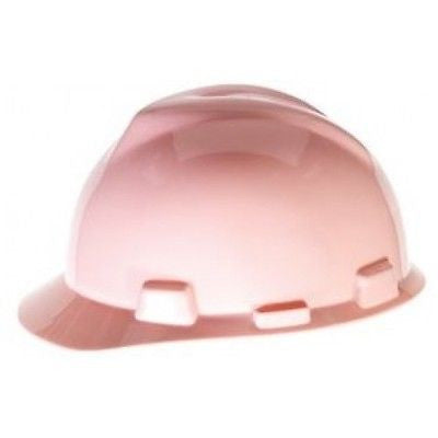 MSA 495862 V-Gard Pink Slotted Cap Hard Hat with FasTrac Ratchet Suspension NEW!