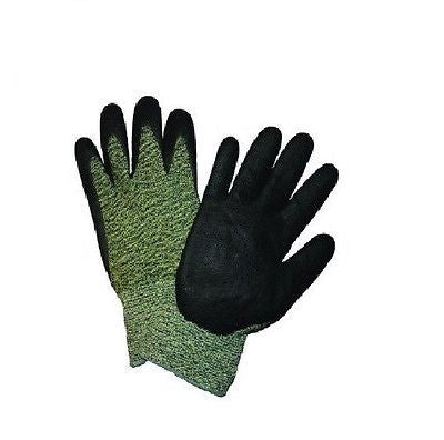 Cut Resistant Black Microfoam Nitrile Foam Palm Coated Work Gloves Green Kevlar