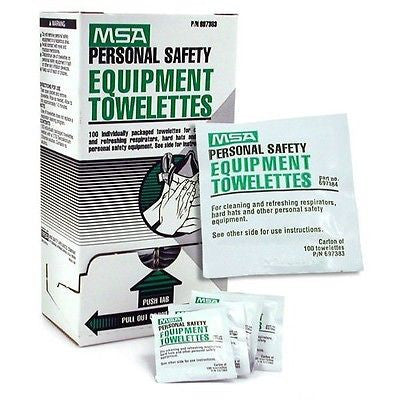 BOX of 100 Personal Safety Equipment Towelettes by MSA 697383MSA NEW LOW PRICE!