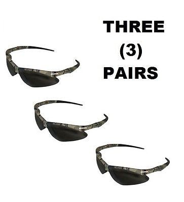 3 THREE PAIRS Jackson™ V30 Nemesis Safety Glasses CAMO SMOKE ANTI-FOG LENS 22609