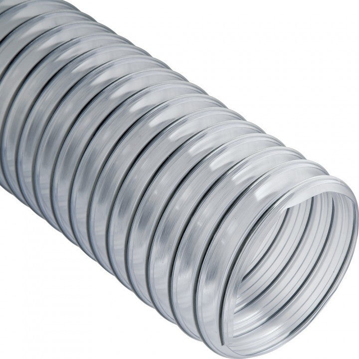 "Clear heavy-duty PVC outlet duct, wire reinforced, 14"" dia x 25'"