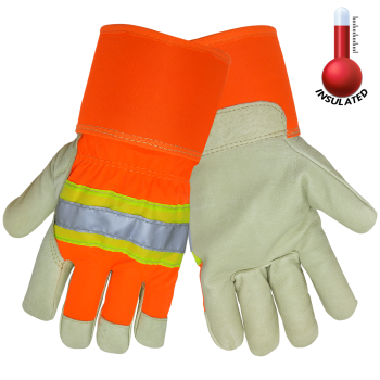(Dozen) Gunn Cut Pigskin Insulated Leather Gloves, w/ 3M reflective tape