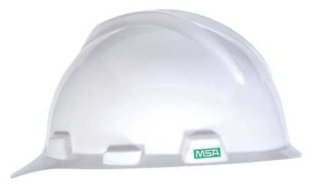 MSA V-GARD WHITE CAP HARD HAT SZ SMALL 6-71/8 W/ STAZ-ON SUSPENSION- 466354