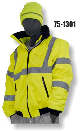 Majestic 2-IN-1 Bomber Jacket Class 3 W/ Zip Out Heavyweight Fleece Liner HI VIZ Lime