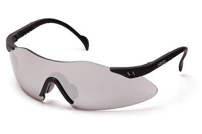 (Pair) Pyramex Intrepid Safety Glasses, Black Frame Mirror Lens