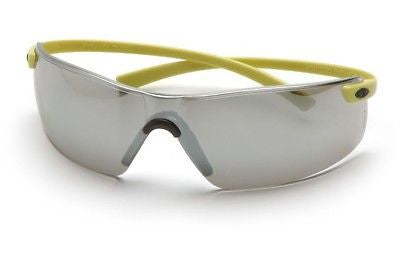 PYRAMEX MONTEGO SAFETY GLASSES SILVER MIRROR LENS HI VIS YELLOW SY5370S NEW