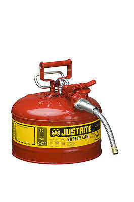 "Justrite 7225120 2.5 Gallon Type 2 Red Safety Can with 5/8""  x 9"" Flexible Hose"