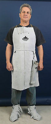 "(2) Memphis Welding Leather Bib Aprons 24""x 36"", Front Pocket"