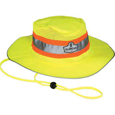 ERGODYNE REFLECTIVE HAT GloWear Hi-Vis Ranger Hat w/ Wide Brim Lime Orange 8935