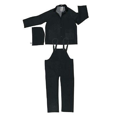 (1) MCR 3-Piece PVC RainSuit (Black)