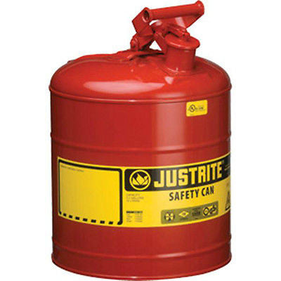 Justrite 1, 2, 2.5 and 5 Gallon Galvanized Steel Type I Red Safety Cans  NEW!!