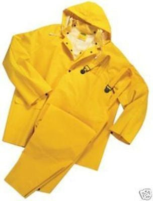 3 PIECE HEAVY DUTY YELLOW RAINSUIT RAIN SUIT 35MM SIZES S THRU 5XL NEW IN BAG
