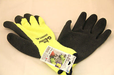 12pk  High Visibility Winter Thermal Rubber Coated  HI-VIS lime gloves  LARGE