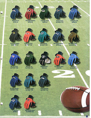 NFL Safety Gloves with Rubber Dot Palm Grip - Assorted Teams great for GARDENING