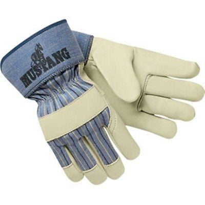 "(12 Pairs) Mustang Leather Palm Gloves 2.5"" Safety Cuff"