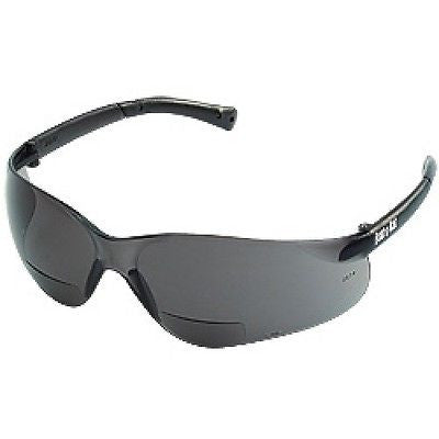 CREWS BEARKAT BIFOCAL MAGNIFIER SAFETY GLASSES SMOKE FRAME,GREY LENS BKH NEW!!