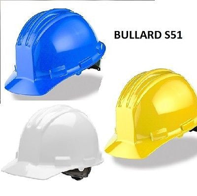 Bullard S51 Flat Style Front Hard Hats Flex-Gear Ratchet Adjustment COLORS NEW!!