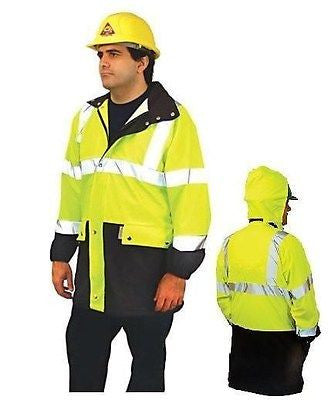 3M Scotchlite ANSI CLASS 3 HI-VIS YELLOW JACKET COAT  NEW !!  SMALL LUX-TJPU-S