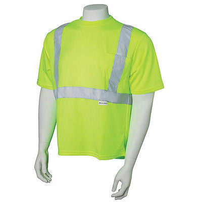 Ansi Class II Lime T-Shirt with Reflective Stripes, Sizes Large, XL, 2XL, 3XL