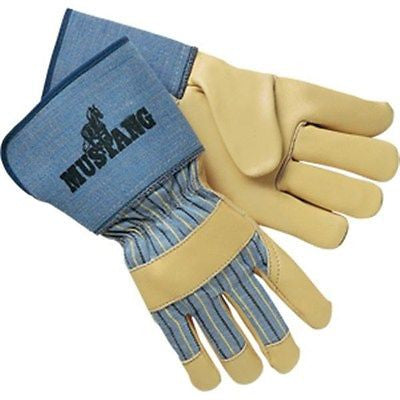 "(12 Pairs) Mustang Leather Palm Gloves 4.5"" Gauntlet Cuff"