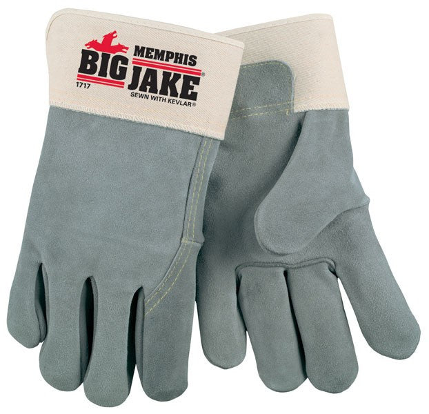 "MEMPHIS GLOVES 1717 ""BIG JAKE"" FULL LEATHER BACK, SEWN W/KEVLAR- 127-1717"