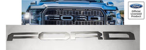 2017-2018 Ford Raptor Grille Letter Overlays - Brushed Stainless Steel - Main